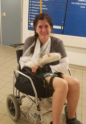 Deborah Munro in a wheelchair at the hospital.