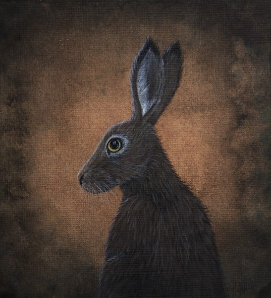 Hare at dusk painting