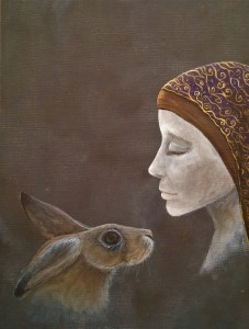 St Melangell Patron Saint of Hares painting