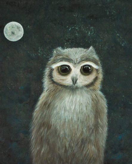 The Owl and moon painting