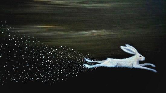 Starflight - white hare and stars painting