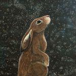 Waiting in wonder - star gazing hare painting