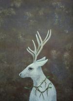 The White Prince - White stag acrylic painting
