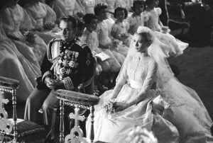 1956 royal wedding scene with Prince Rainier and Grace Kelly at the altar.