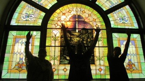 Worship Hands Raised Stained Glass Window Worship Praise Dance for the Lord