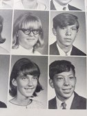 Me at the bottom, my best friend Alda right above me, and my first boyfriend, Bob, right next to her.