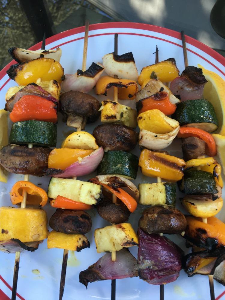 Skewers of grilled veggies.