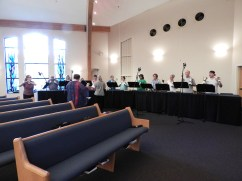 """Recording """"Wondrous Love"""" for Handbells with Flute (photo by Abigail Lynn)"""