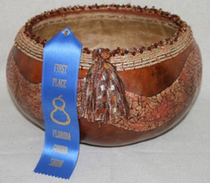 Faux copper and eggshell gourd bowl