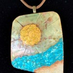Gourd shard necklace with eggshell mosaic and gold leaf.
