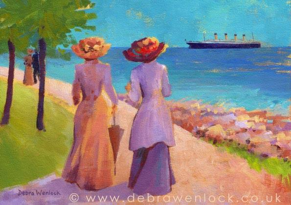 Titanic passing Bangor, from Belfast Lough into the Irish Sea - Acrylic Painting by Debra Wenlock