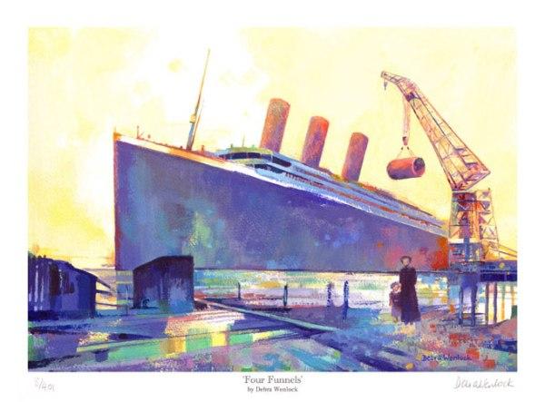 """Four Funnels"" - Titanic Print - Limited Edition by Debra Wenlock"
