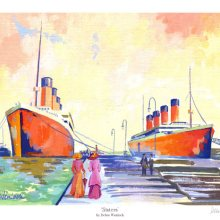 """Sisters"" - Olympic and Titanic Print by Debra Wenlock"