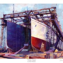 White Stars - Titanic and Olympic Print by Debra Wenlock