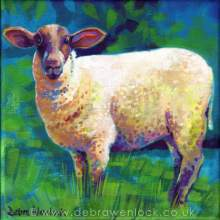 """Ewe Looking at Me?"" acrylic sheep painting by Debra Wenlock"