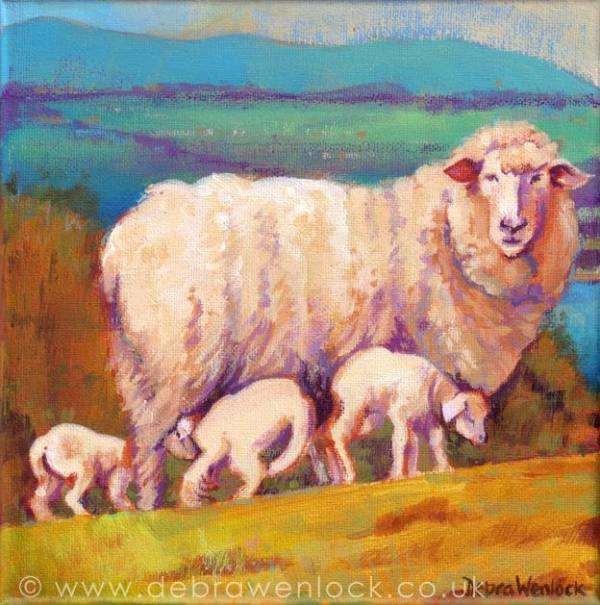 """""""Ewe with a View"""" - Sheep Landscape Painting by Debra Wenlock"""