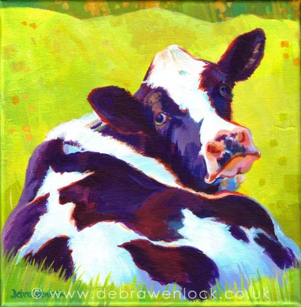 Lazy Daisy - Cow Painting by Debra Wenlock
