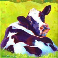 Lazy Daisy - Cow Painting by Debra Wenlock