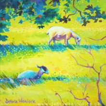 Light and Shade the Sunshine Sheep, acrylic painting by Debra Wenlock