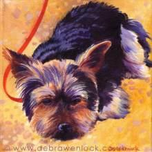 Yawn the Yorkie Puppy Portrait Painting by Debra Wenlock