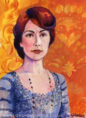 Lady Mary Crawley acrylic & oil pastel by Debra Wenlock