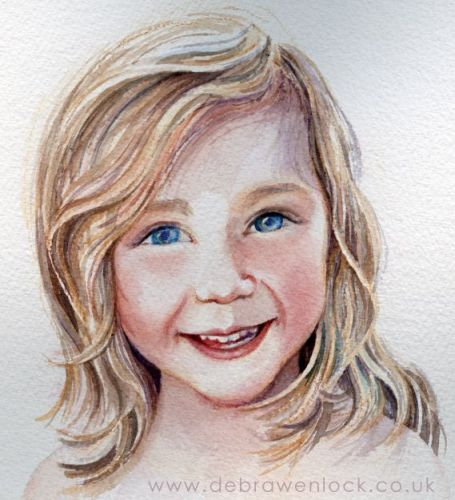 Beth - smiling child portrait in watercolour by Debra Wenlock