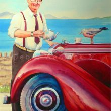 Alvis Painting with Seagull - Where there's tea... there's hope, watercolour by Debra Wenlock
