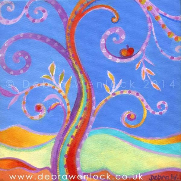 Another Eden, fantasy apple treescape painting by Debra Wenlock