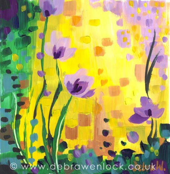 Lemon and Lilac Spring Flowers, acrylic painting by Debra Wenlock
