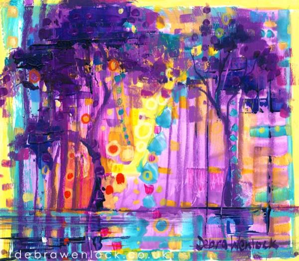 Lakeside Treescape in Purple and Gold, acrylic painting by Debra Wenlock