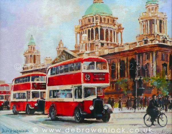 Belfast Buses - And then Three Come Along, Belfast City Hall acrylic painting by Debra Wenlock
