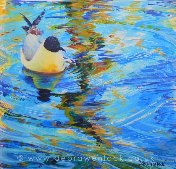 Gliding Gull, acrylic painting by Debra Wenlock, #ArtistSupportPledge