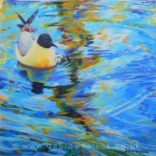 Gliding Gull, acrylic painting by Debra Wenlock, #ArtistSupportPledge
