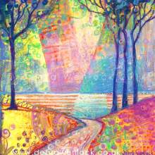 The Long Road to the Sea acrylic and oil pastel painting by Debra Wenlock