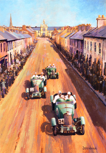 Lea Francis Cars - South Street at Speed - 1929 Ards TT, acrylic painting by Debra Wenlock