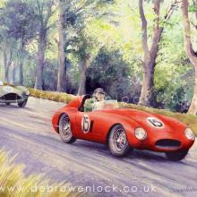 Mike Hawthorn Ferarri leads Aston Martin, 1954 Dundrod TT, watercolour & charcoal by Debra Wenlock