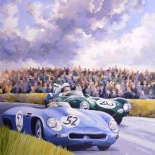 Panhard and D Type Jaguar painting, 1954 Dundrod TT, by Debra Wenlock