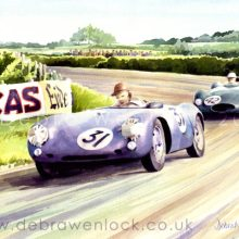 Porsche and Cooper Climax, 1955 Dundrod TT, watercolour by Debra Wenlock