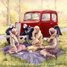 Austin Seven Ruby print from a watercolour painting by Debra Wenlock