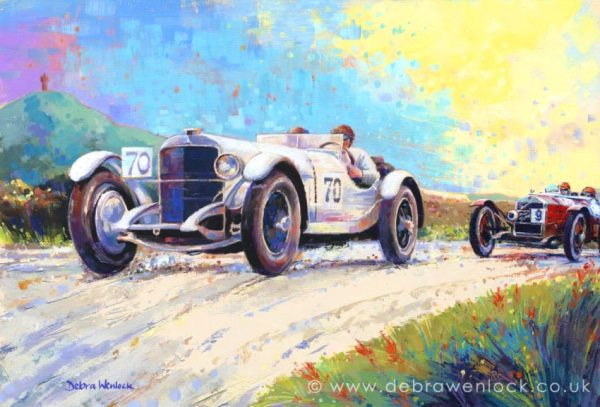 Caracciola Mercedes vs Campari Alfa Romeo at 1929 Ards TT Race, RAC Tourist Trophy painting by Debra Wenlock