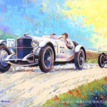 Caracciola, Mercedes vs Campari, Alfa Romeo at 1929 Ards TT Race, RAC Tourist Trophy painting by Debra Wenlock
