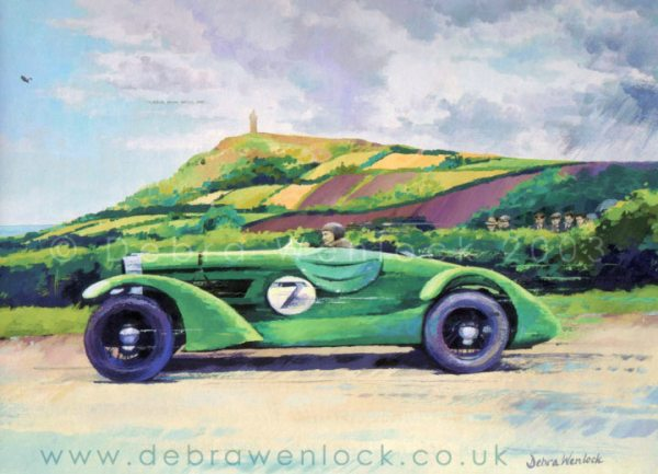Eddie Hall Rolls Bentley at Bradshaw's Brae in the 1936 Ards TT race, acrylic painting by Debra Wenlock