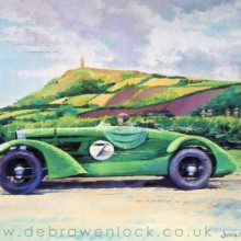 Eddie Hall Rolls Bentley at Bradshaw's Brae in the 1936 Ards TT race, acrylic painting by Debra Wenlock