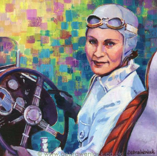 Kay Petre - lady racing driver, Austin Seven single seater, acrylic painting, Debra Wenlock