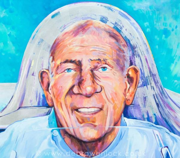 Stirling Moss Icon - 'Stirling ' acrylic & silver leaf painting by Debra Wenlock