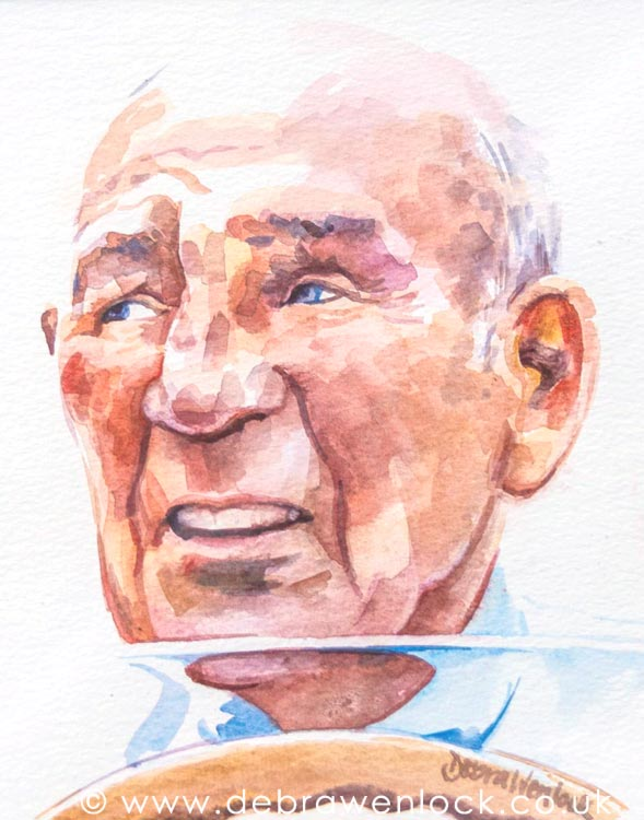 Stirling Moss Watercolour Painting by Debra Wenlock