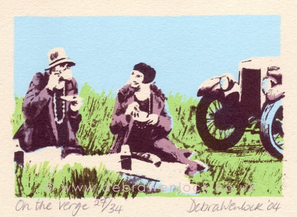 Morris Minor Picnic screenprint - 'On the Verge' by Debra Wenlock
