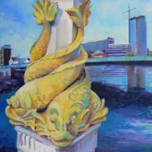 Queen's Bridge Belfast oil painting by Debra Wenlock