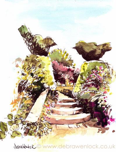 Topiary Twosome, watercolour