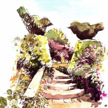 Topiary Twosome, watercolour